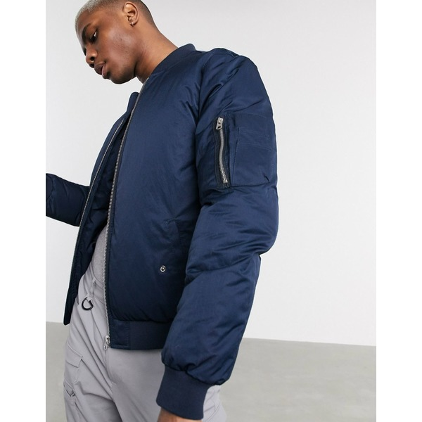 エイソス メンズ ジャケット&ブルゾン アウター ASOS DESIGN padded bomber jacket with MA1 in navy satin finish Navy