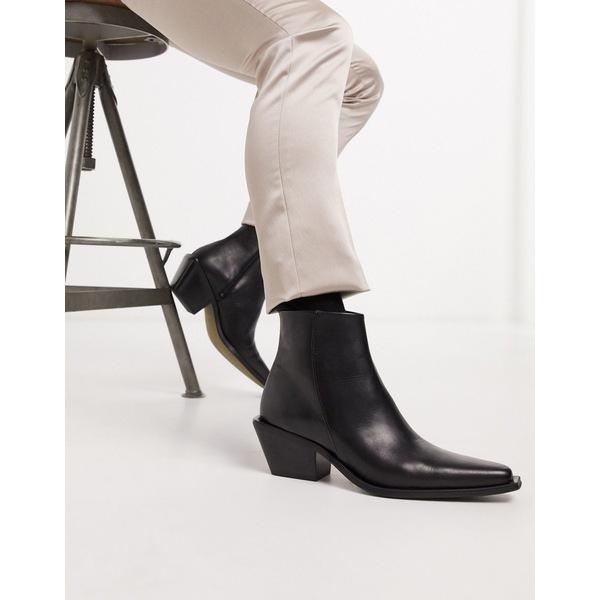 エイソス メンズ ブーツ&レインブーツ シューズ ASOS DESIGN stacked heel western chelsea boot in black leather with angular sole Black