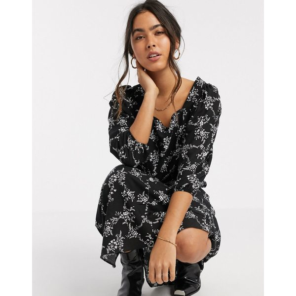 リバーアイランド レディース ワンピース トップス River Island floral midi smock dress in black Black sprig print