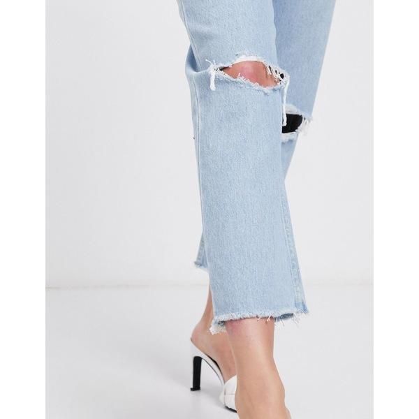 エイソス レディース デニムパンツ ボトムス ASOS DESIGN Recycled Florence authentic straight leg jeans in bright lightwash blue with rips and raw hem Light wash
