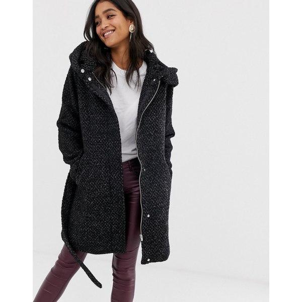 ヴィラ レディース コート アウター Vila shawl collar coat Black