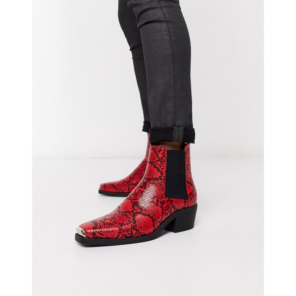 エイソス メンズ ブーツ&レインブーツ シューズ ASOS DESIGN stacked heel western chelsea boots in red snake with metal hardware Red