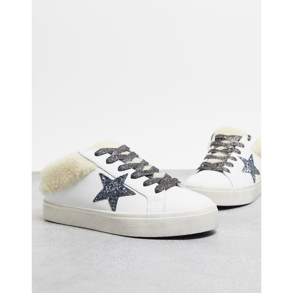 スティーブ マデン レディース スニーカー シューズ Steve Madden Polar slip on sneaker with faux fur trim White/nat fur