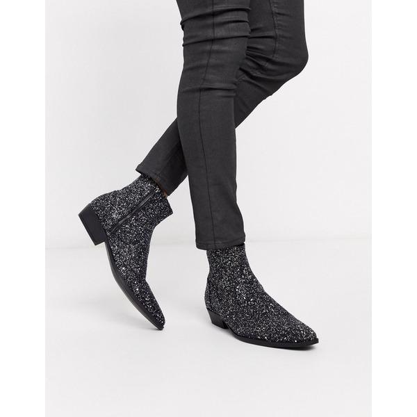 エイソス メンズ ブーツ&レインブーツ シューズ ASOS DESIGN stacked heel western chelsea boots in silver glitter Silver