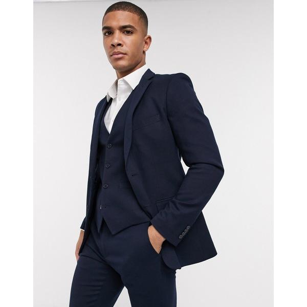 フレンチコネクション メンズ ジャケット&ブルゾン アウター French Connection wedding slim fit flannel suit jacket Marine