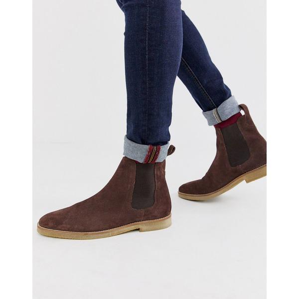 ウォークロンドン メンズ ブーツ&レインブーツ シューズ WALK London hornchurch chelsea boots in brown suede Brown