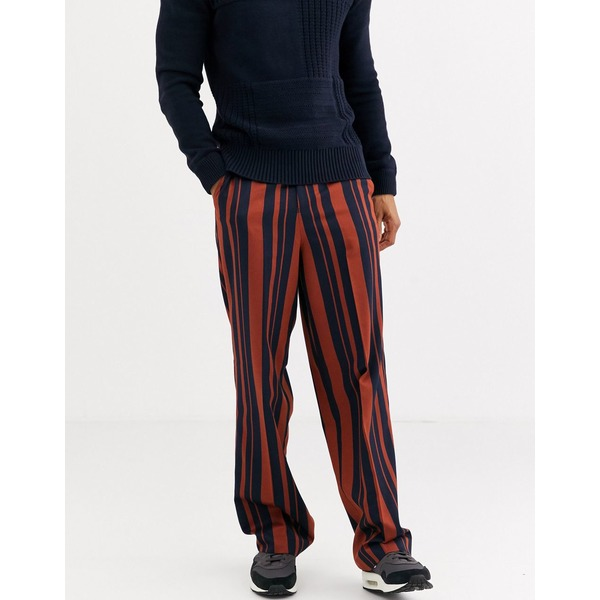 エイソス メンズ カジュアルパンツ ボトムス ASOS DESIGN high waisted wide leg smart pants in navy and orange stripe Navy