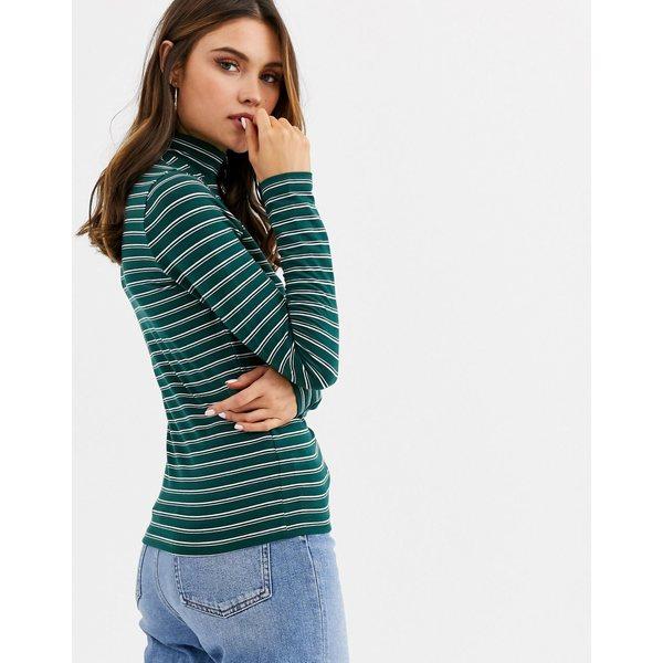 エイソス レディース カットソー トップス ASOS DESIGN turtleneck long sleeve top in stripe Green whiteeCxdBo