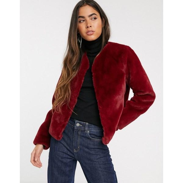 ストラディバリウス レディース ジャケット&ブルゾン アウター Stradivarius faux fur jacket in burgundy Burgundy