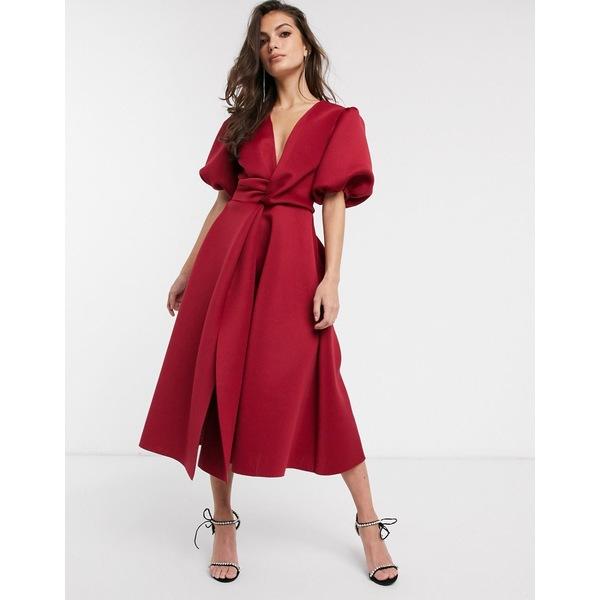 エイソス レディース ワンピース トップス ASOS DESIGN bubble sleeve twist detail midi prom dress in deep red Deep red