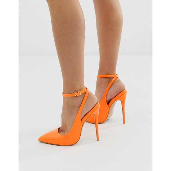 シミシューズ レディース ヒール シューズ Simmi London Sure neon orange ankle strap pumps Neon orange