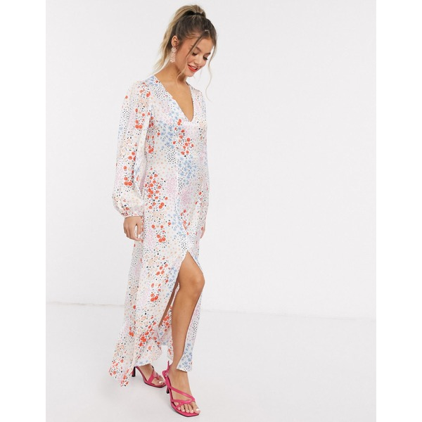 エイソス レディース ワンピース トップス ASOS DESIGN trapeze maxi dress with splits in mixed floral print Floral print