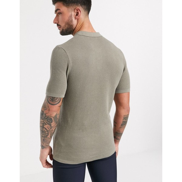 エイソス メンズ ポロシャツ トップス ASOS DESIGN knitted textured moss stitch polo t-shirt in gray Gray