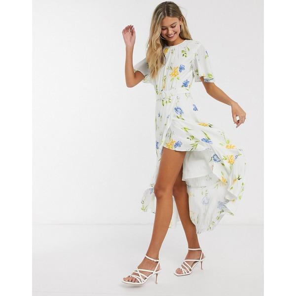 フレンチコネクション レディース ワンピース トップス French Connection cascade hem belted floral midi dress Summer white