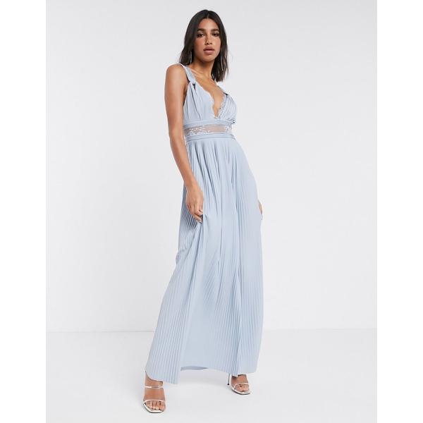 エイソス レディース ワンピース トップス ASOS DESIGN Premium twist strap lace insert maxi dress Sky blue