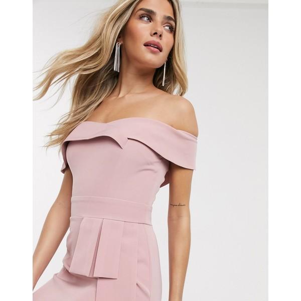 ペーパードールズ レディース ワンピース トップス Paper Dolls bandeau wiggle dress with obi detail in blush Blush pink