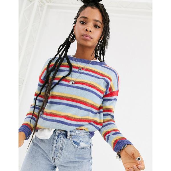 エモリーパーク レディース パーカー・スウェットシャツ アウター Emory Park fluffy knit stripe sweater Multi stripe