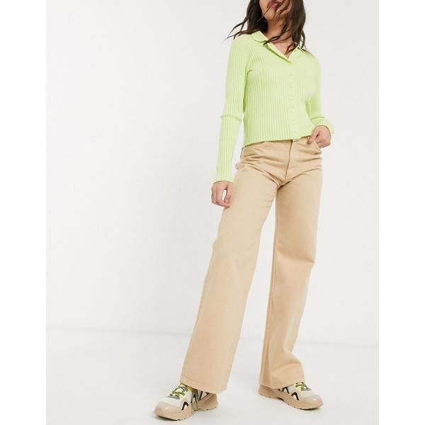 モンキ レディース デニムパンツ ボトムス Monki Yoko wide leg organic cotton jeans in beige Beige