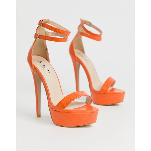 シミシューズ レディース ヒール シューズ Simmi London Scandal orange croc effect plaform sandals Orange croc