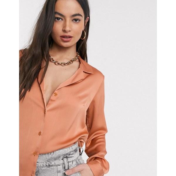 エイソス レディース シャツ トップス ASOS DESIGN relaxed satin long sleeve shirt in peachy tan Peachy tan