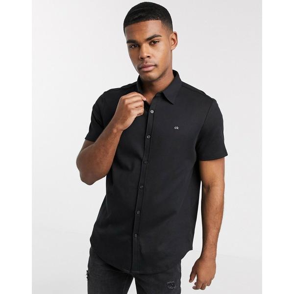 カルバンクライン メンズ ポロシャツ トップス Calvin Klein button polo in black Black