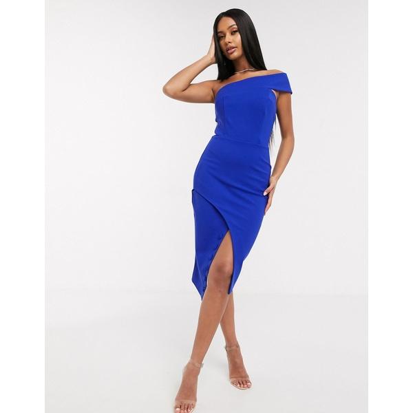 ラビッシュアリス レディース ワンピース トップス Lavish Alice one shoulder midi dress in blue Cobalt