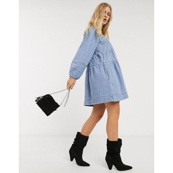 フリーピープル レディース ワンピース トップス Free People blue denim babydoll mini dress Washed denim