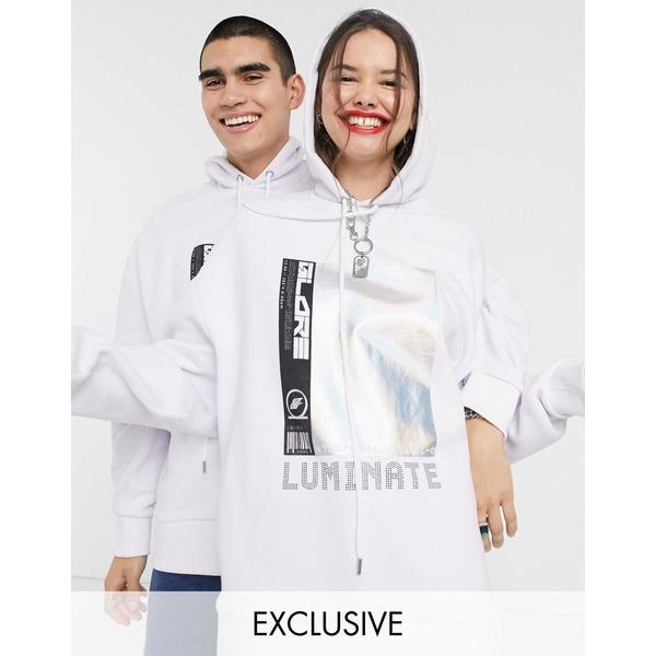 コリュージョン レディース パーカー・スウェットシャツ アウター COLLUSION Unisex hoodie with print White