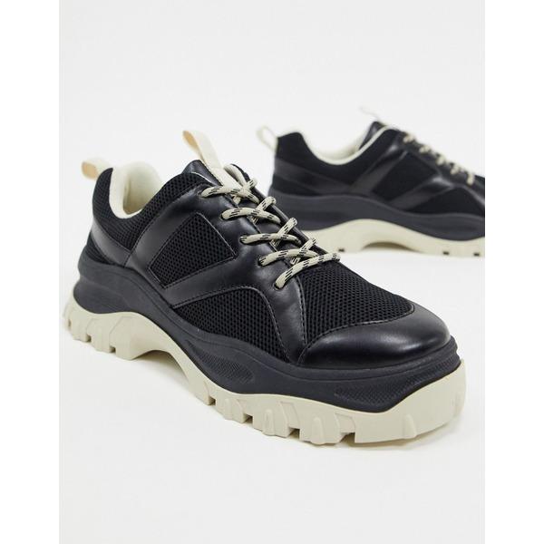 モンキ レディース スニーカー シューズ Monki contrast chunky sole mesh sneakers in black Black