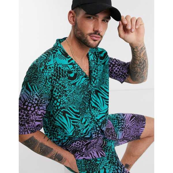 ネイティブユース メンズ シャツ トップス Native Youth two-piece oversized shirt animal snake print Blue