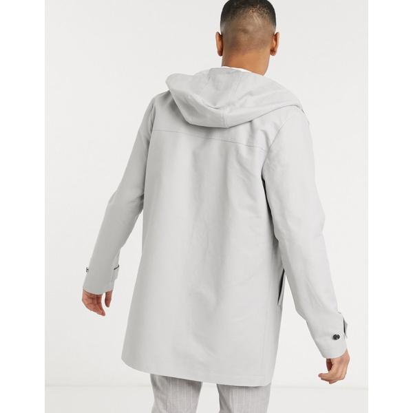 エイソス メンズ コート アウター ASOS DESIGN hooded trench coat with shower resistance in light gray Light gray