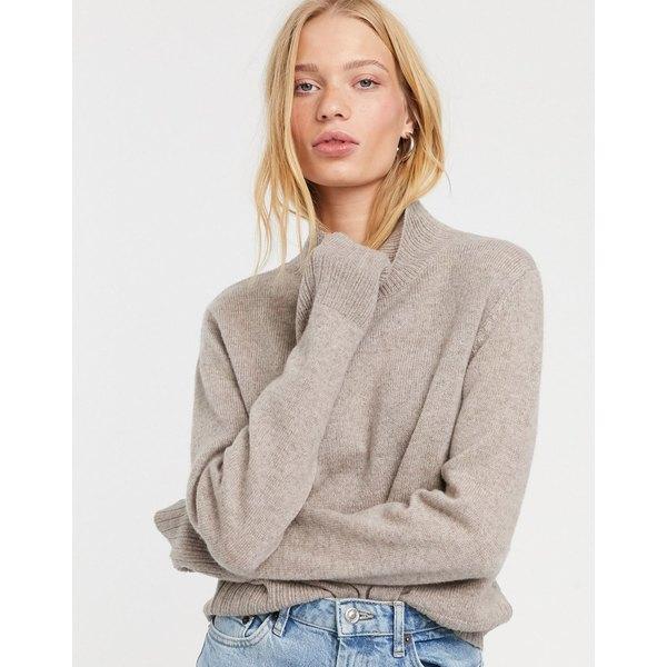 ウィークデイ レディース ニット&セーター アウター Weekday 100% wool mock neck sweater in light taupe Light mole