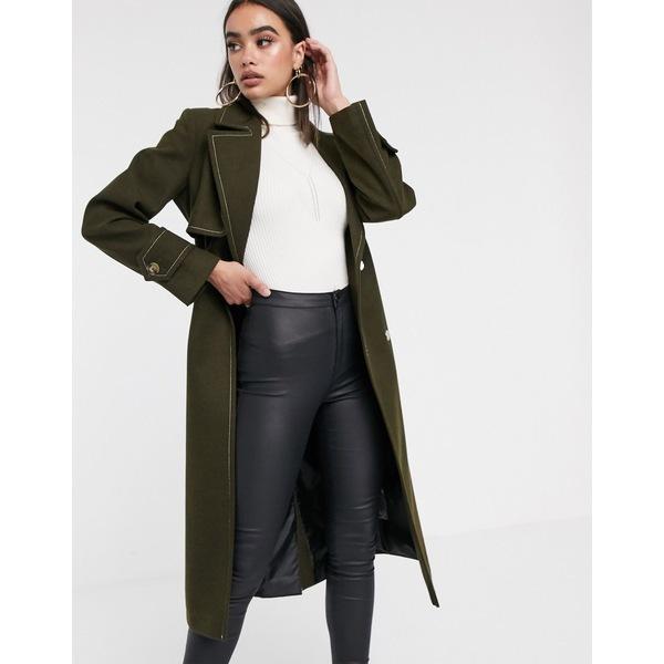エイソス レディース コート アウター ASOS DESIGN belted coat with topstitching detail in khaki Khaki
