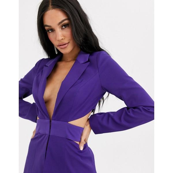 フォースレックレス レディース ジャケット&ブルゾン アウター 4th + Reckless cut out waist blazer in purple Purple