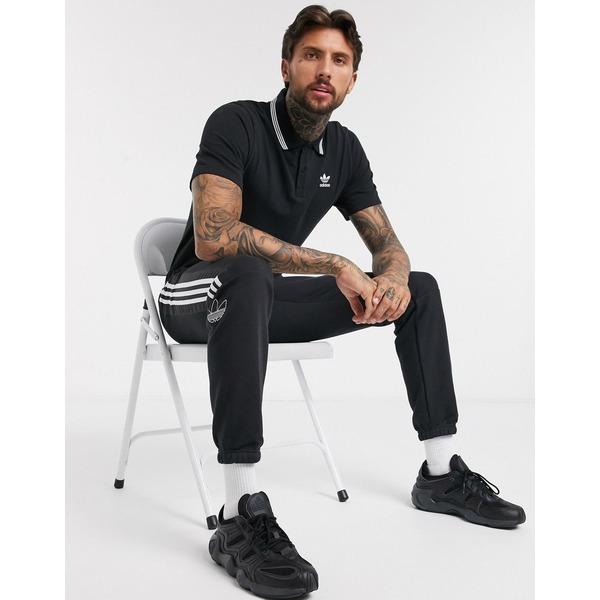 アディダスオリジナルス メンズ ポロシャツ トップス adidas Originals polo shirt in black Bk1 - black 1