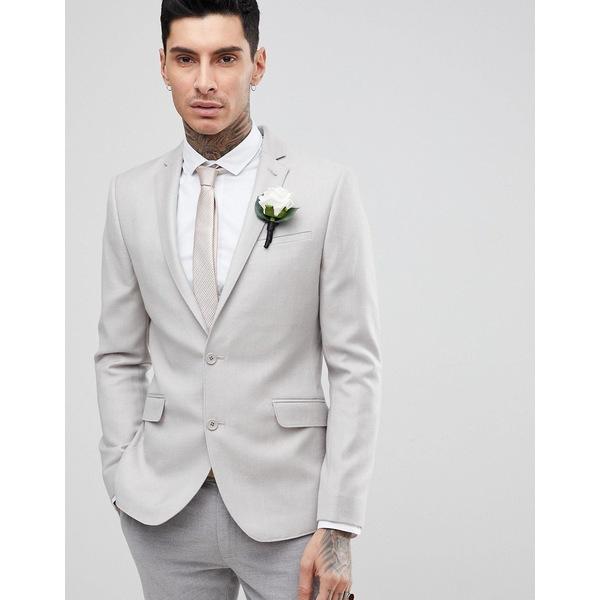 エイソス メンズ ジャケット&ブルゾン アウター ASOS WEDDING Skinny Blazer In Putty 100% Merino Wool Putty