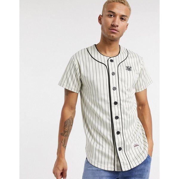 シックシルク メンズ シャツ トップス SikSilk striped baseball jersey in white White