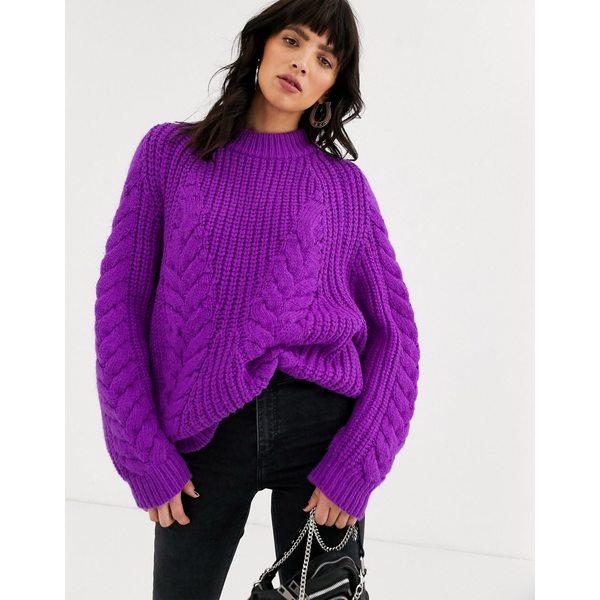 エイソス レディース ニット&セーター アウター ASOS DESIGN premium oversized cable sweater Purple