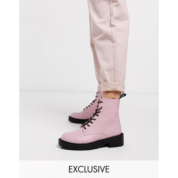 レイド レディース ブーツ&レインブーツ シューズ RAID Exclusive Micah lace up flat boots in pink Pink pu