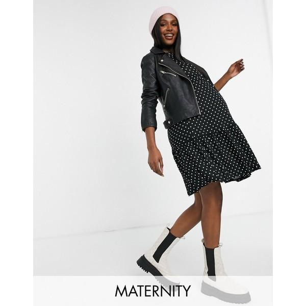 ママライシアス レディース トップス ワンピース Multi 全商品無料サイズ交換 Mamalicious Maternity mini black in polkadot ファッション通販 with waist smock OUTLET SALE dress tie