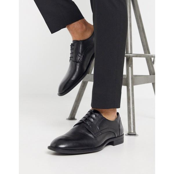 black derby shoes in シューズ leather DESIGN Black メンズ エイソス ASOS ドレスシューズ