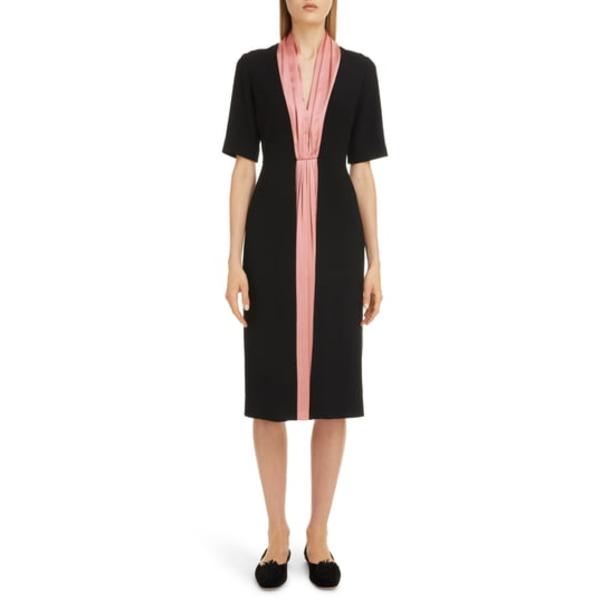 ロクサンダ レディース ワンピース トップス Contrast Silk Stripe Midi Dress Black/ Rose