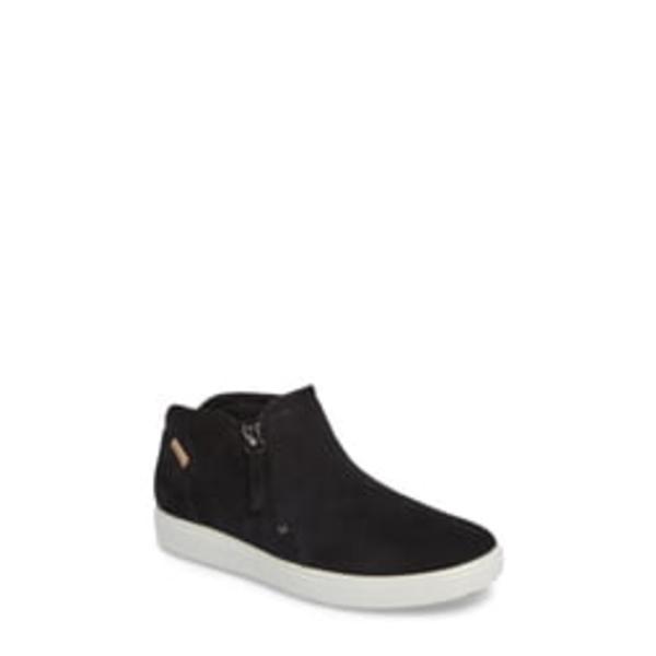 エコー レディース スニーカー シューズ Soft 7 Mid Top Sneaker Black Leather