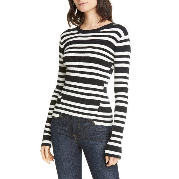 フレーム レディース パーカー・スウェットシャツ アウター Le Mix Stripe Rib CottonCashmere Sweater Noir Multil1JcKT3F