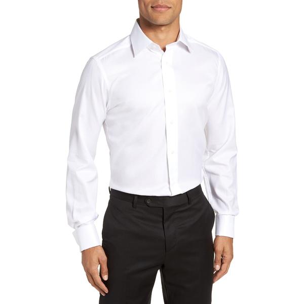 デイビッドドナヒュー メンズ シャツ トップス Trim Fit Solid French Cuff Tuxedo Shirt White