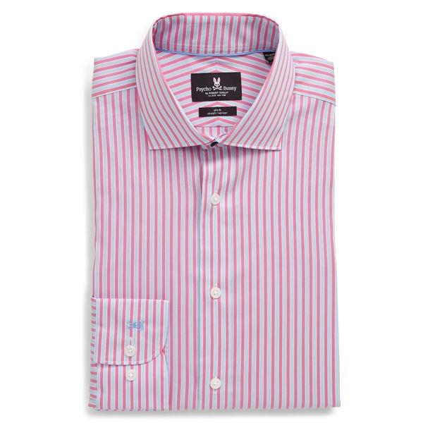 サイコバニー メンズ シャツ トップス Slim Fit Stretch Stripe Dress Shirt Rose