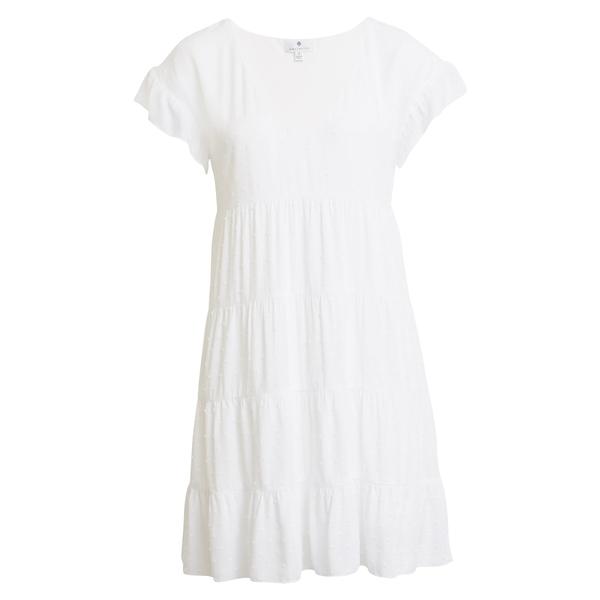 ソーシャライト レディース ワンピース トップス Tiered Babydoll Dress White