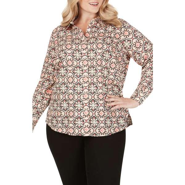 フォックスクラフト レディース シャツ トップス Ava Mosiac Print Wrinkle Free Shirt Multi