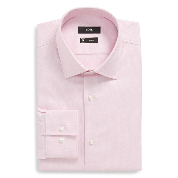 ボス メンズ シャツ トップス Jenno Slim Fit Solid Dress Shirt Pink