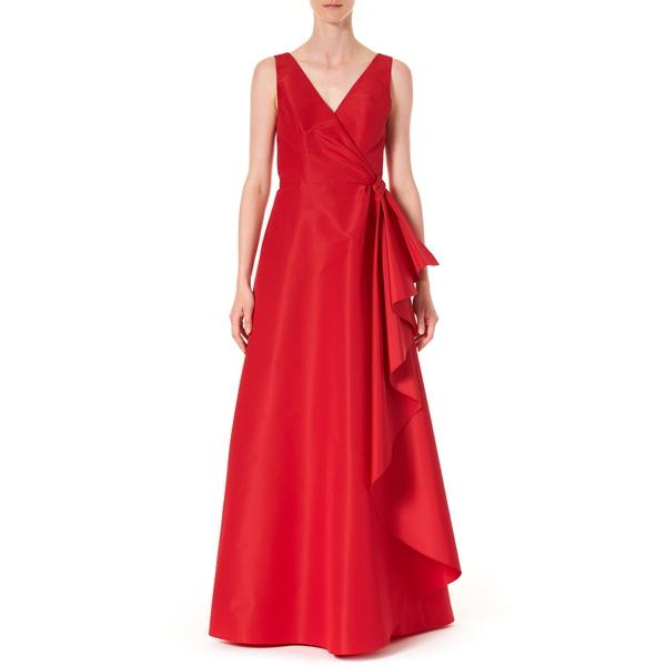 キャロライナヘレラ レディース ワンピース トップス Ruffle Panel A-Line Silk Gown Icon Red
